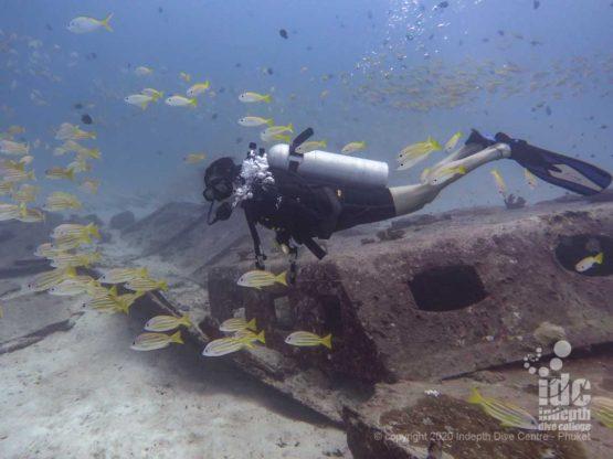 Small wreck located at Homerun Reef dive site Racha Yai - Phuket Diving