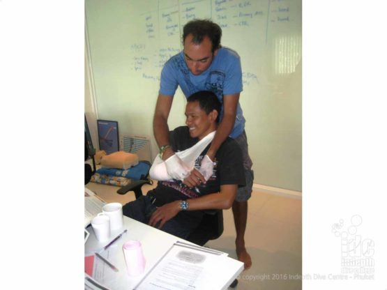 Phuket Indepth First Aid Instructors teaching bandaging skills