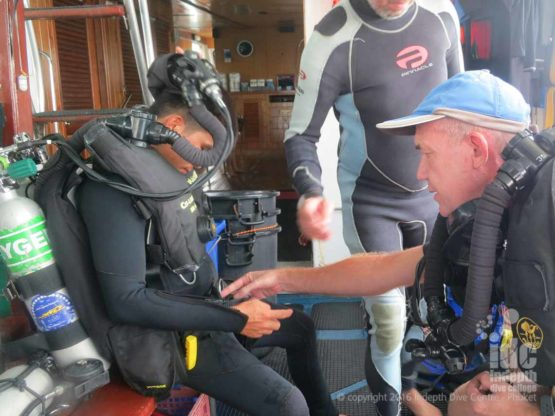 Rebreather divers getting ready for their PADI Boat Diver Specialty Course with Indepth Phuket