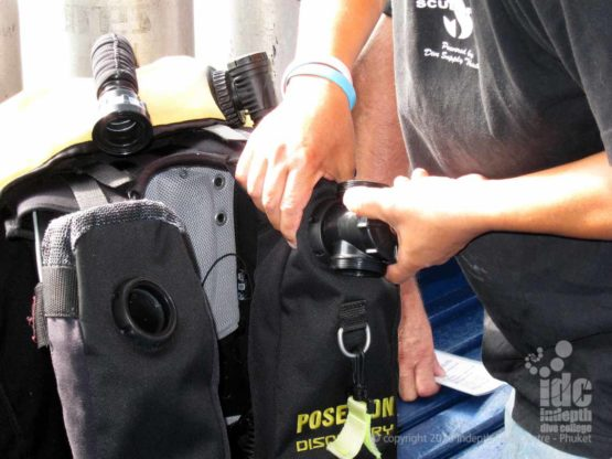 Student assembling his Poseidon Rebreather during his Instructor Course