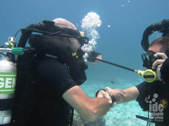 Simulated Bail Out on a PADI Rebreather Instructor Course on Phuket