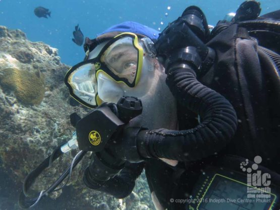 Chris diving his Poseidon Rebreather with Indepth on Phuket
