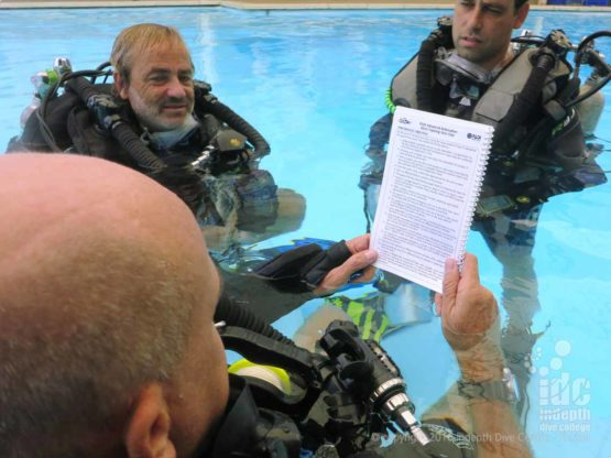 Chris giving a Confined Water breifing on a PADI Rebreather Course
