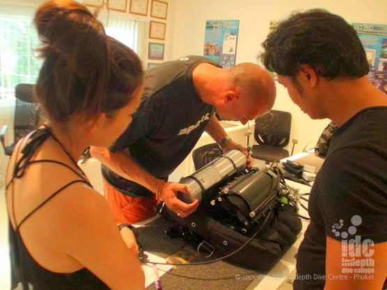 Putting a Poseidon MKVI Rebteather on a PADI Rebreather Course on Phuket
