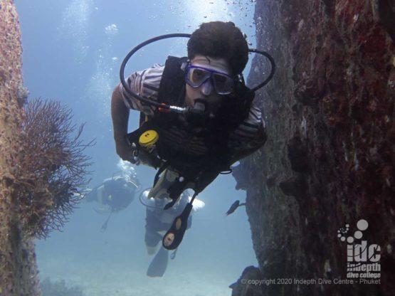 Diver at Banana Rock Racha Noi