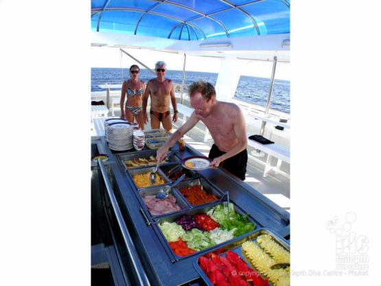 South Siam 3 Liveaboard offers a Thai buffet lunch