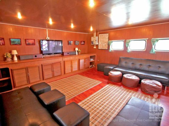 A typical Saloon area on a Budget Liveaboards Thailand Similans Liveaboard Trip