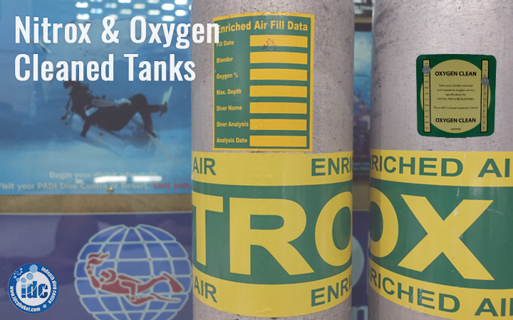 Nitrox and Oxygen clean scuba cylinder markings