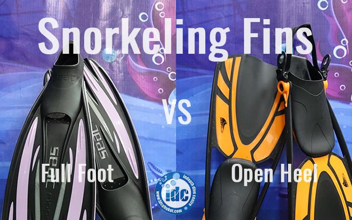 Snorkeling fins full foot and open heel