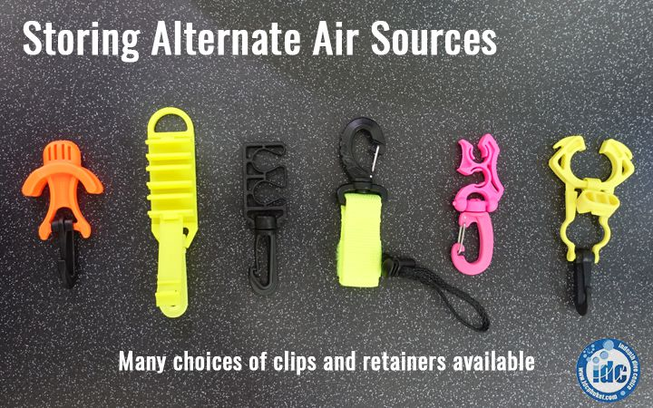 Samples of different clipping options available for storing an alternate air source (octopus)