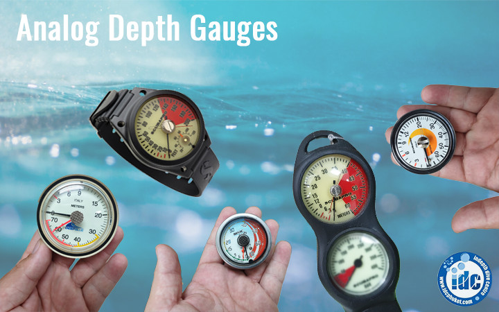 Analog scuba depth gauges