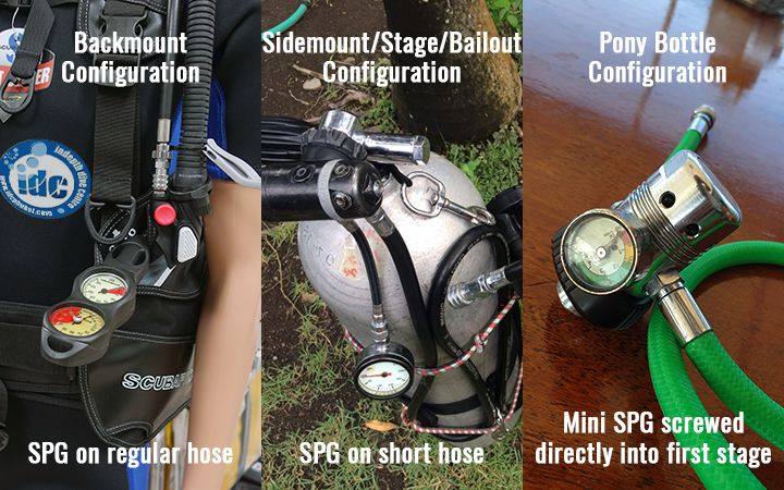Different types of submersible pressure gauge SPGs for different diving configurations
