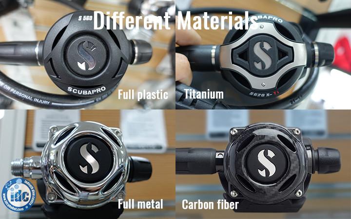 Examples of different materials when choosing a scuba regulator