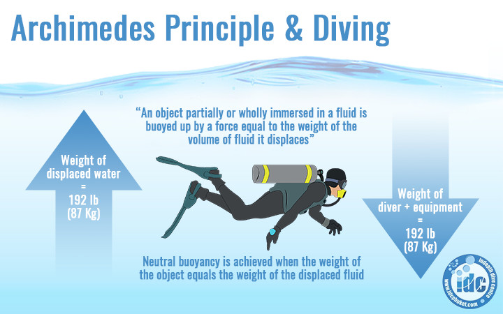 Archimedes principle in scuba diving - quick release weighty system