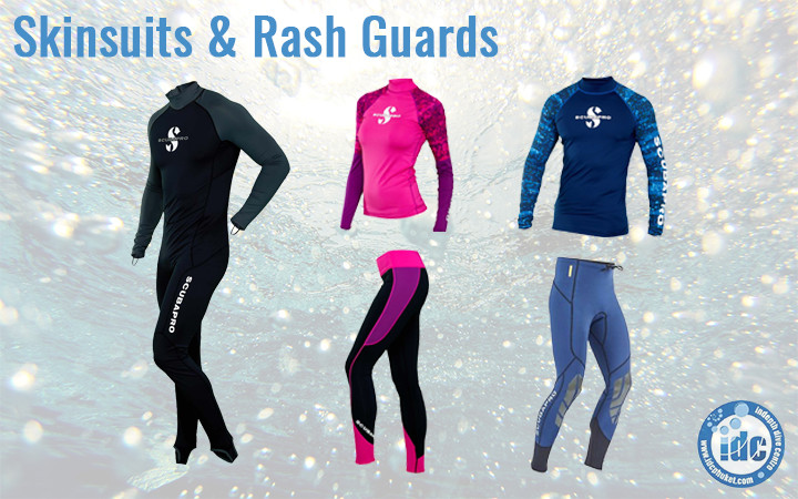 Rash guards & skin suits for scuba diving